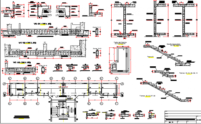Six floor residential building staircase and construction details dwg file