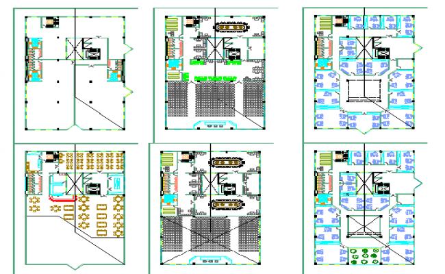 Six level office building floor plan layout details dwg file