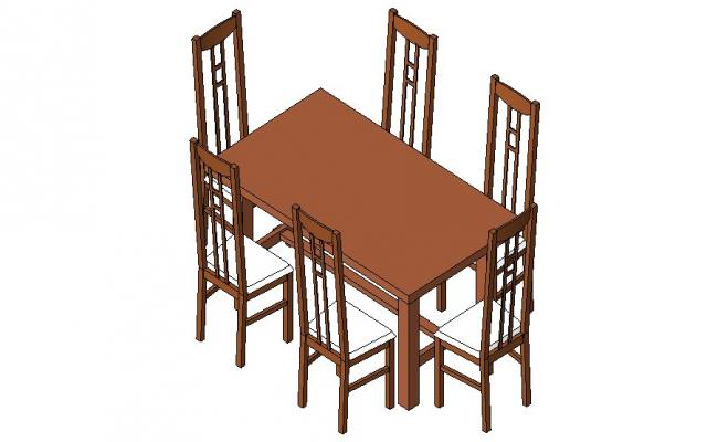 Six seated wooden dining table 3d block cad drawing details dwg file