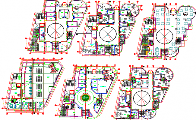 Six-story corporate building floor plan layout details dwg file