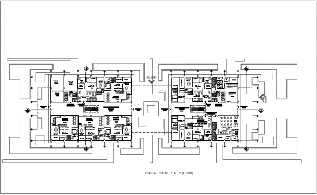Sixth floor plan of financial building dwg file