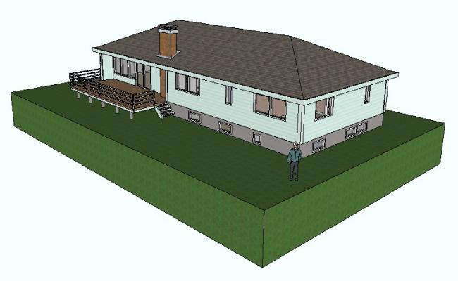Sketchup Drawing of a residential house in 3d