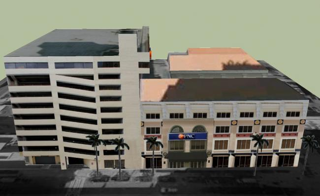 Sketchup drawing of commercial building
