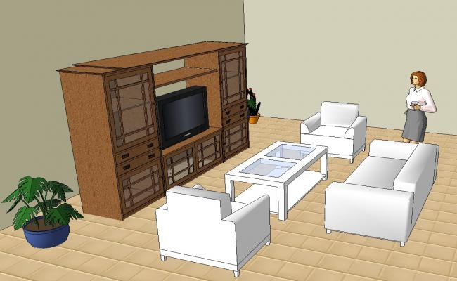 Sketchup drawing of living area