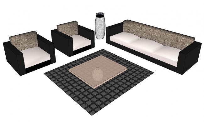 Sketchup drawing of sofa set