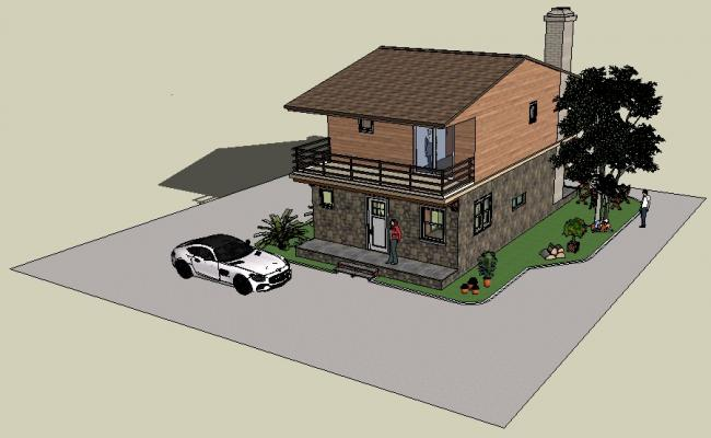 Sketchup file of the 3d house with detail dimension