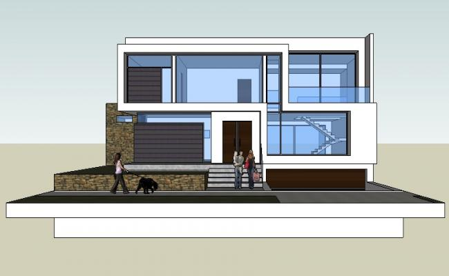 Sketchup file of the house design with exterior detail