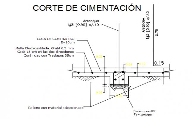 Slab column section detail dwg file