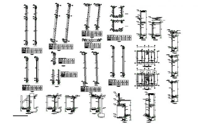 Slab construction with staircase and wall cad drawing details dwg file