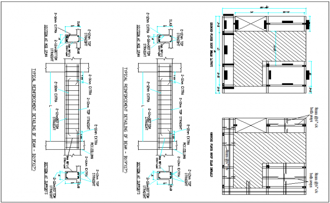 Slab detail and beam column arrangement view and section