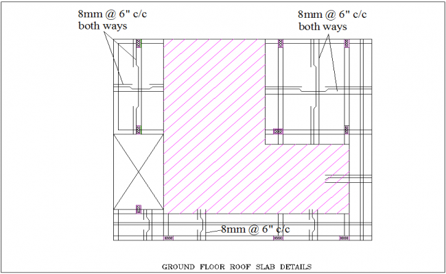Slab detail view for ground floor roof for corporate building dwg file