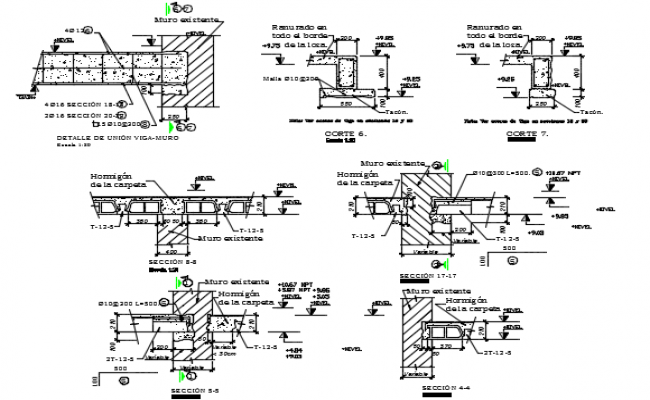 Slab joint wall detail dwg file