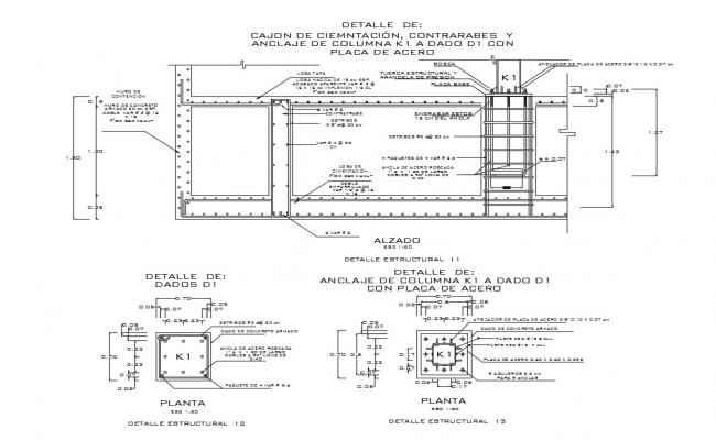 Slab of foundation construction with column cad drawing details dwg file