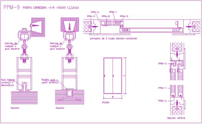 Sliding door design view with door tool view with section for Sliding door plan view