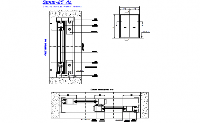 Sliding door elevation and section detail dwg file on
