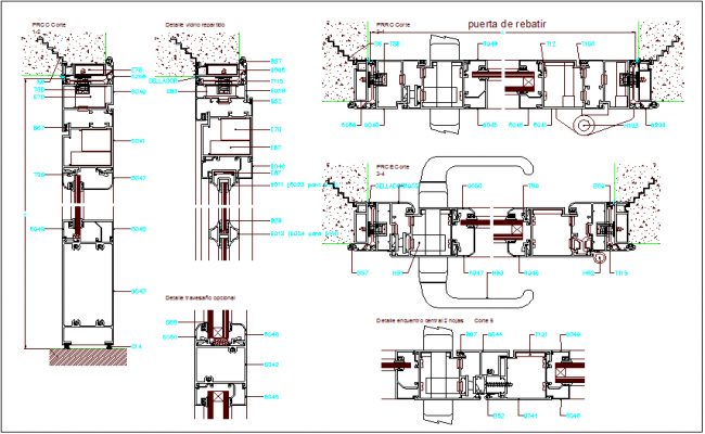 Sliding door to rebut design view dwg file