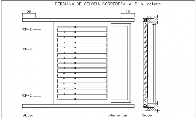Sliding shutter design view with sectional view dwg file