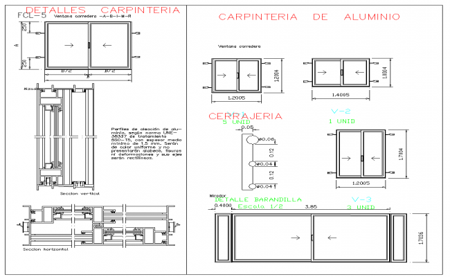 Sliding window detail and drawing in autocad files for Window design cad
