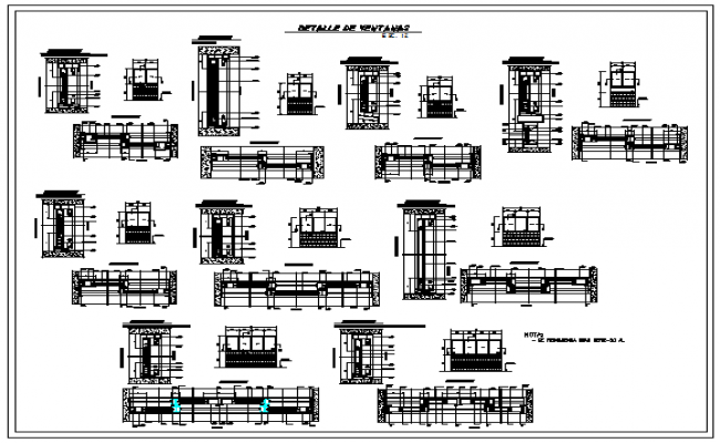 Sliding windows aluminum section detail design drawing