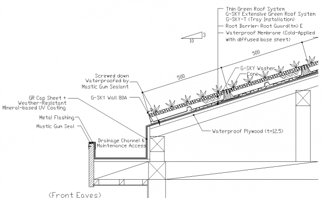Slope of the green roof detail of theeaves plan detail dwg file