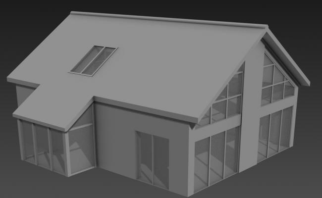 Sloping Roof Elevation Bungalow 3D MAX File Free