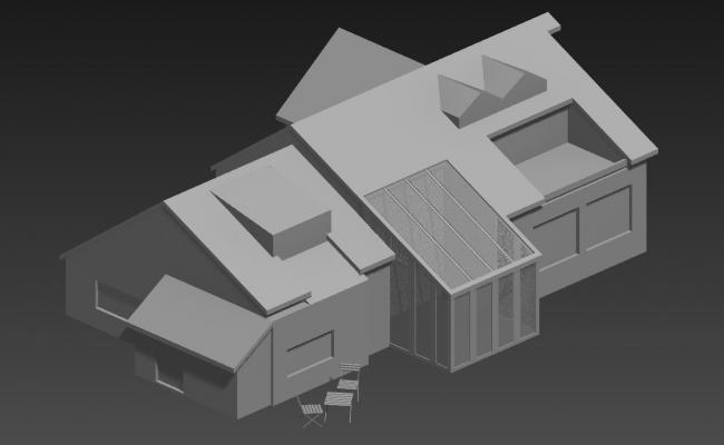 Sloping Roof Elevation For Bungalow 3D MAX File Free