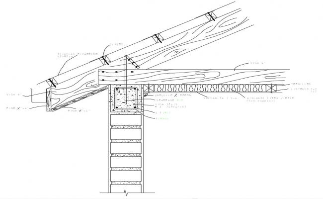 Sloping Roof Section CAD drawing