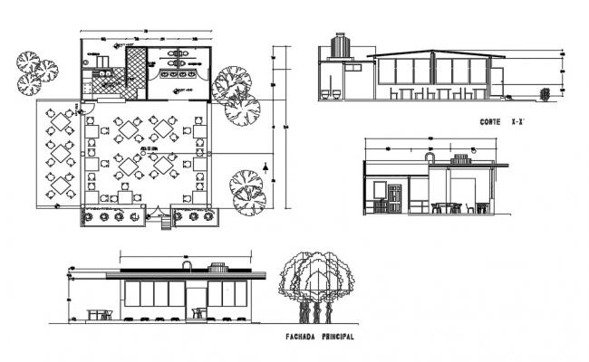 Small Cafe Plan In AutoCAD Drawings