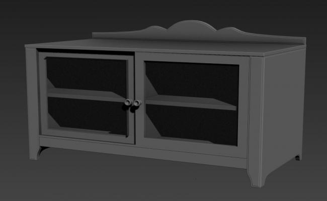 Small Glass And Wooden Showcase 3D MAX File