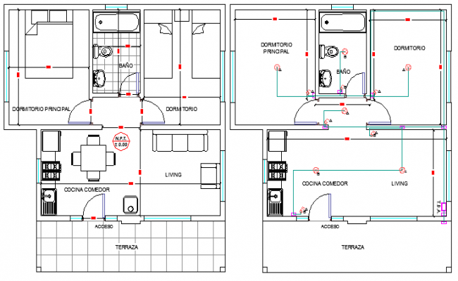 Small House Architecture Design and Structure Details dwg file