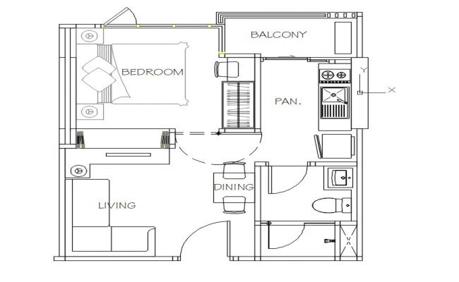 Small House Plan Free DWG File