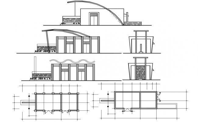 Small Residential Building Modern Elevation,CAD File