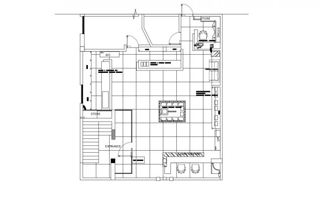 Small Shop Design Plan Architecture AutoCAD drawing