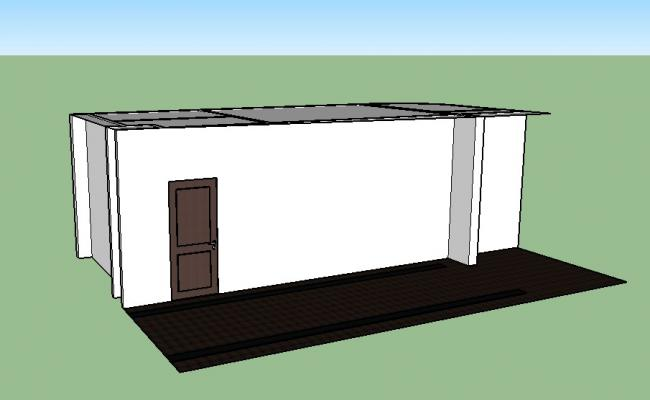 Small cabin type 3d house model cad drawing details skp file