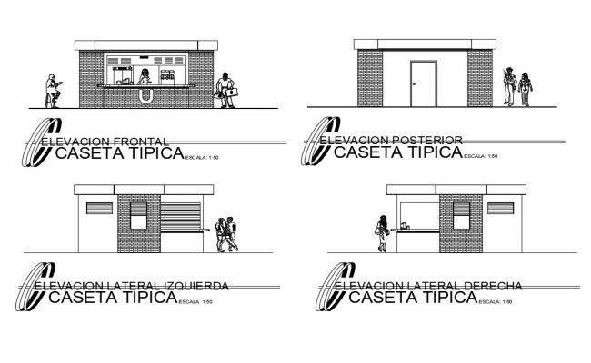 Small canteen of university all sided elevations cad drawing details dwg file