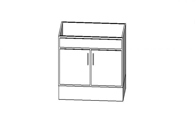 Small cupboard wooden 3d model cad drawing details skp file