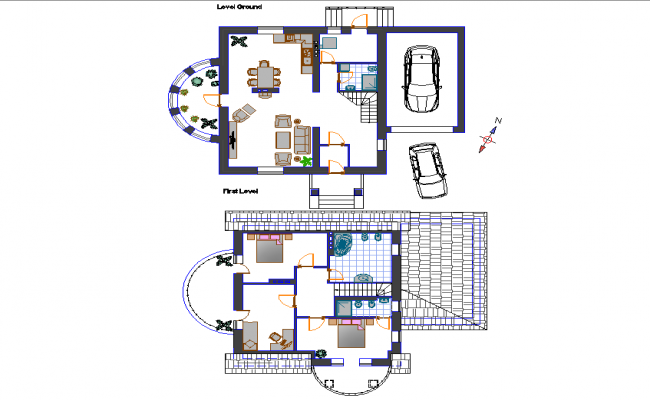 Small family house planning detail dwg file
