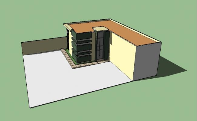Small house 3d model cad drawing details skp file