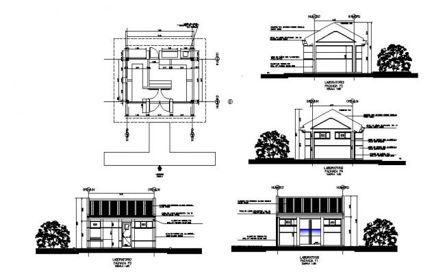 Multilevel mini shopping mall elevation and sectional view dwg file