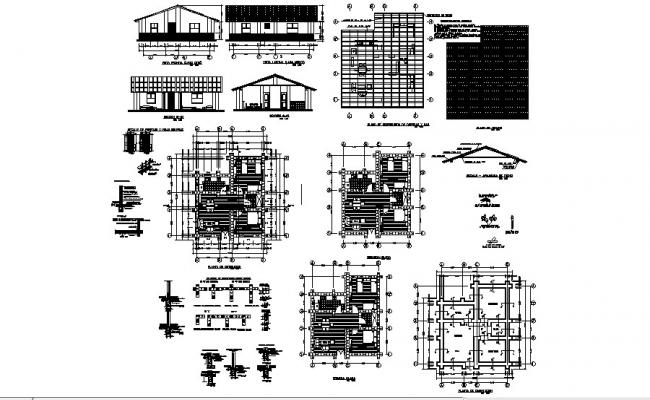 Small house elevation, section, plan, construction and auto-cad details dwg file