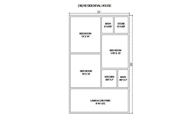 Small residential house plan cad drawing details dwg file