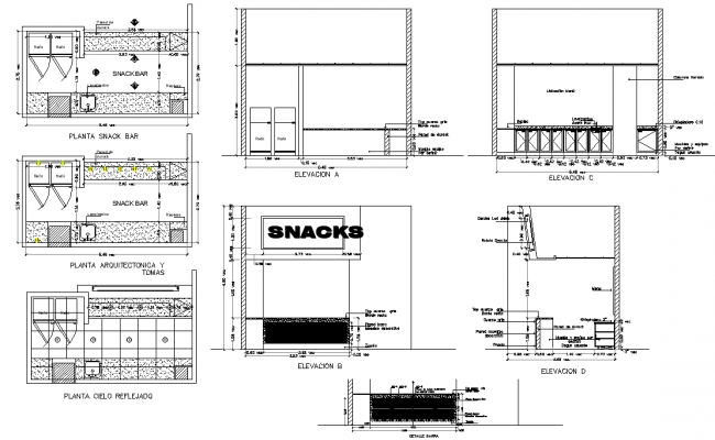 Snacks bar plan and elevation detail autocad file