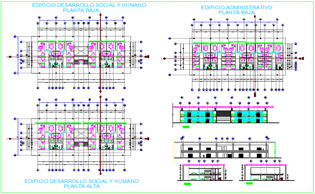 Social and human development building of government design with plan,elevation and section view dwg file