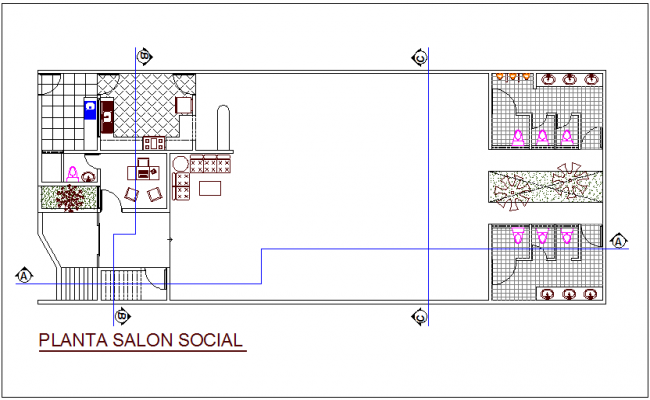 Social living architectural  plan dwg file