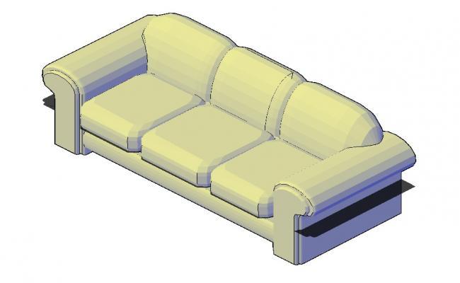 Sofa 3d Model In DWG File