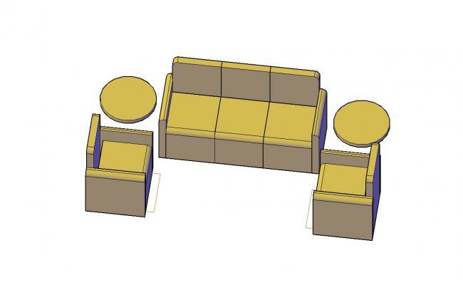 Sofa AutoCAD Block Furniture 3d model Drawing