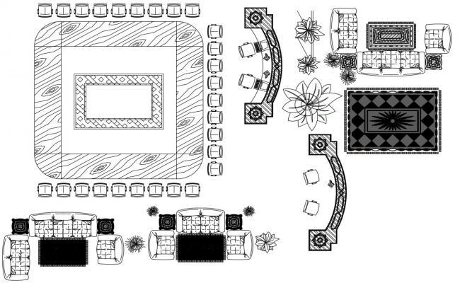 Sofa-Set Design CAD File Download