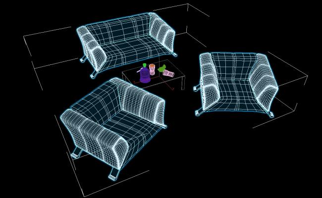 Sofa Set With Center Table In 3D MAX File Free Download