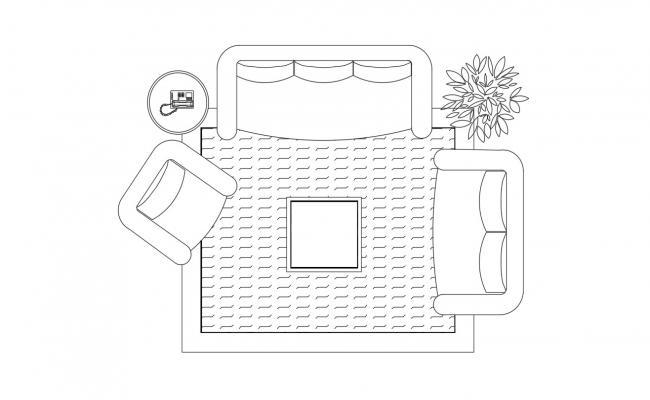 Sofa With Furniture Plan In DWG File