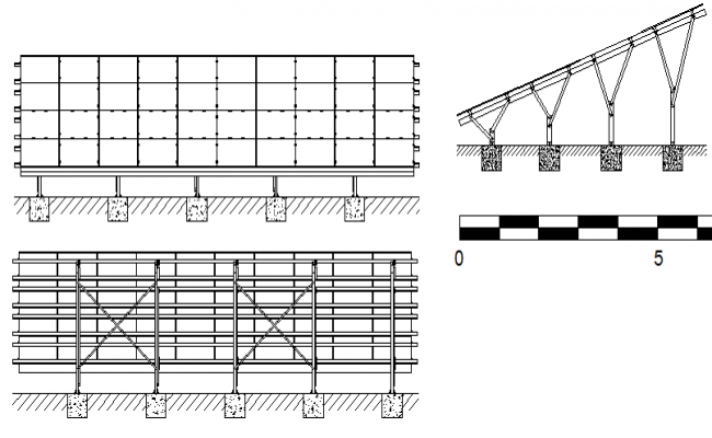 solar panel details of structure on concrete shoe dwg file